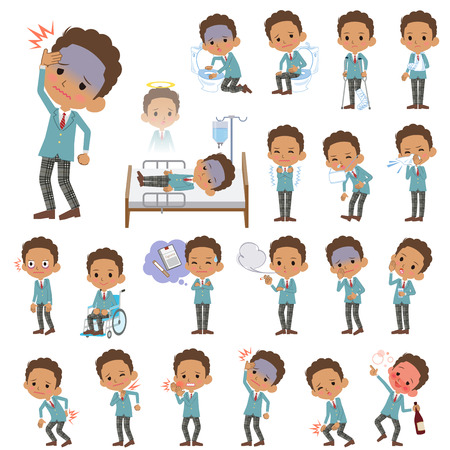 abdominal pain: Set of various poses of Black schoolboy About the sickness