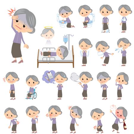 Conjunto de varias actitudes de la abuela ropa púrpura Acerca de la enfermedad