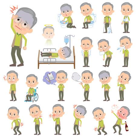 Conjunto de varias actitudes de abuelo chaleco verde sobre el mal de Foto de archivo - 53043489