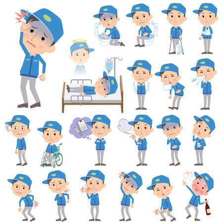 nursing clothes: Set of various poses of Delivery men About the sickness