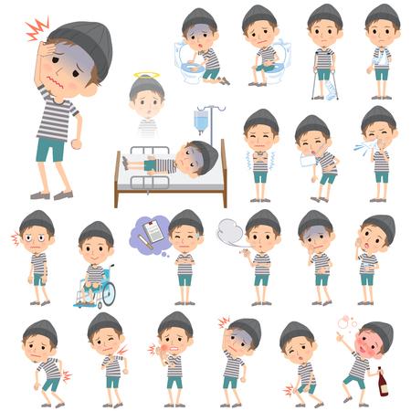 abdominal pain: Set of various poses of Border T-shirt shorts knit cap man About the sickness