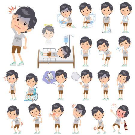 Set von verschiedenen Posen von NYC T-Shirt halbe Hosen Männer Über die Krankheit Vektorgrafik
