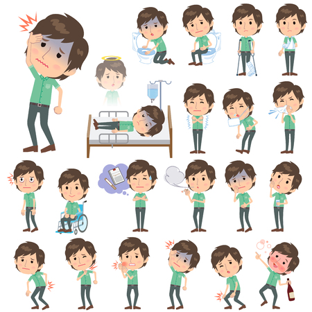 sleeved: Set of various poses of JGreen short sleeved shirt Men About the sickness Illustration