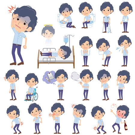 Set of various poses of Light blue short sleeved shirt perm men About the sickness