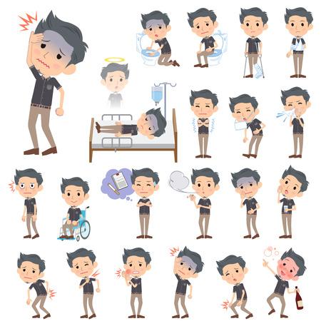 abdominal pain: Set of various poses of Black short sleeved shirt Short beard man About the sickness Illustration