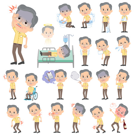 abdominal pain: Set of various poses of Yellow short sleeved president Men About the sickness Illustration