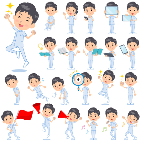 caregivers: Set of various poses of chiropractor men 2