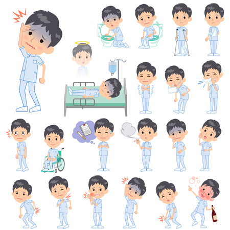 hay fever: Set of various poses of chiropractor men About the sickness Illustration