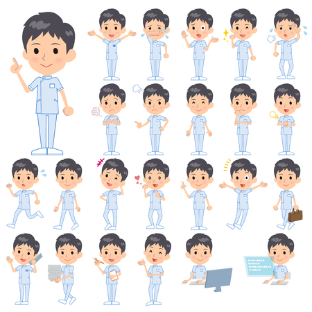caregivers: Set of various poses of chiropractor men Illustration