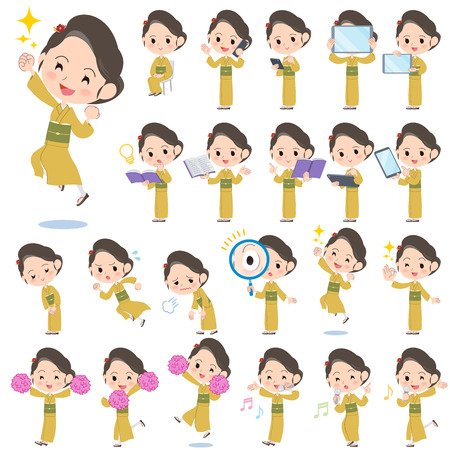 japanese kimono: Set of various poses of kimono Yellow ocher women Illustration