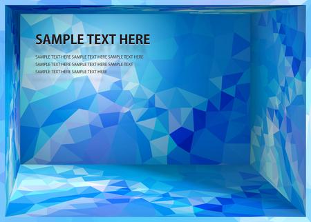Cubism background Bright blue depth space