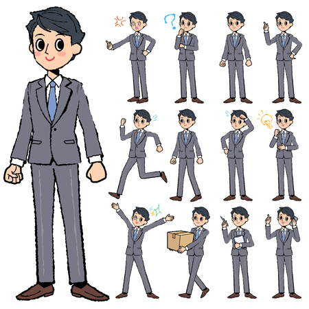 get tired: Set of various poses of Gray suit business man in hand painted