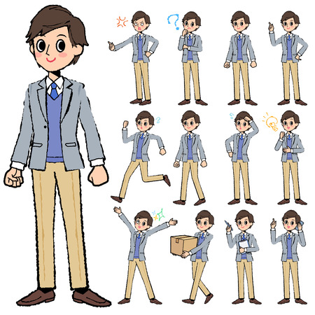 worries: Set of various poses of Jacket blue vest men in hand painted Illustration