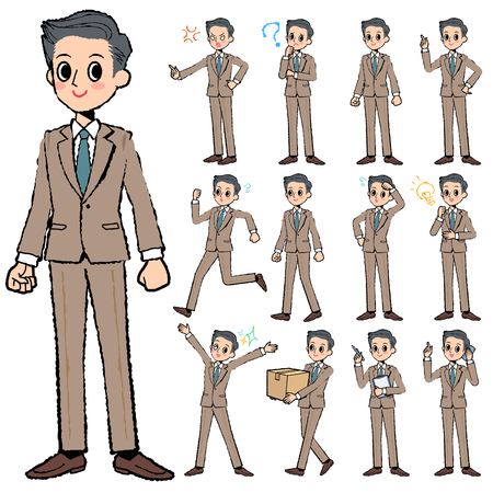 short hair: Set of various poses of Beige suit short hair man in hand painted Illustration