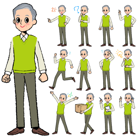 get tired: Set of various poses of Green vest grandfather in hand painted Illustration