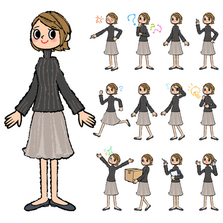 Conjunto de varias actitudes de las mujeres altas de cuello negro pelo corto en la mano pintadas Ilustración de vector