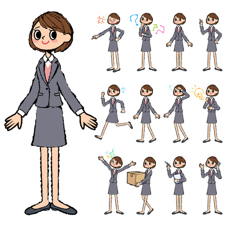 gray suit: Set of various poses of Gray suit business woman in hand painted