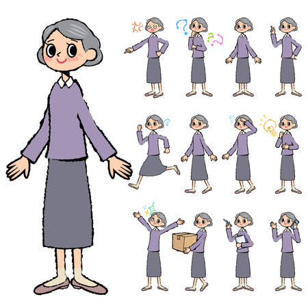 scold: Set of various poses of Purple clothes grandmother in hand painted Illustration