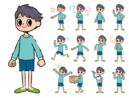 Set of various poses of blue clothing boy in hand painted