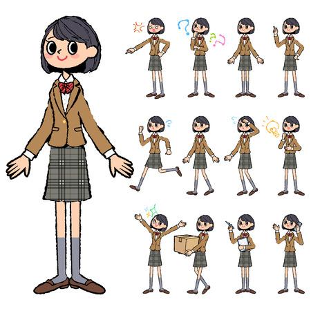 blazer: Set of various poses of school girl Brown Blazer in hand painted