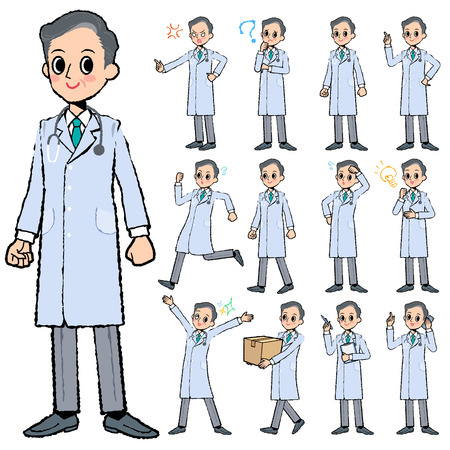 job descriptions: Set of various poses of Doctor man in hand painted