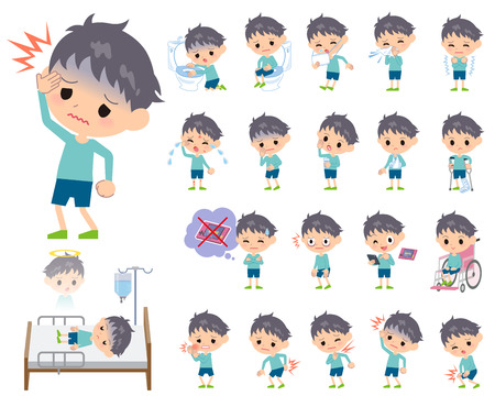 Set of various poses of blue clothing boy About the sickness