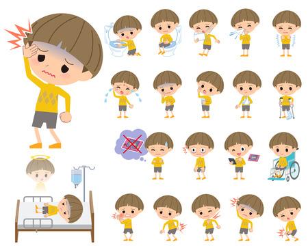 Jeu de différentes poses de vêtements jaunes Bobbed garçon A propos de la maladie Vecteurs