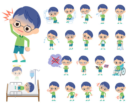 sore eye: Set of various poses of Green clothing glasses boy About the sickness Illustration
