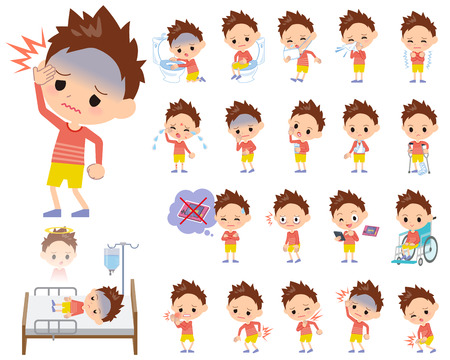 sore eye: Set of various poses of Red clothing short hair boy About the sickness