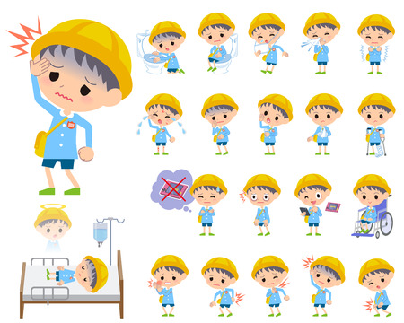 vomiting: Set of various poses of Nursery school boy About the sickness
