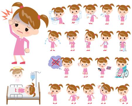 Insieme di varie pose di rosa ragazza di abbigliamento A proposito di malattia