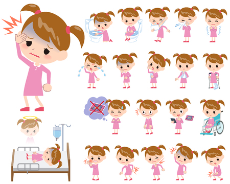 arme kinder: Set von verschiedenen Posen von Pink Kleidung Mädchen Über die Krankheit
