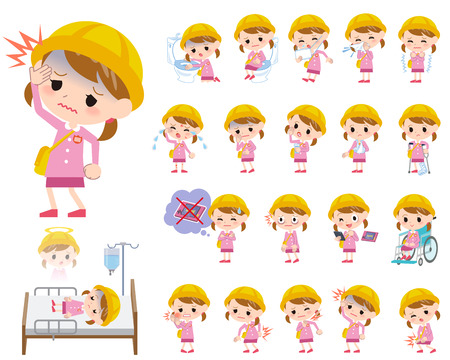 abdominal pain: Set of various poses of Nursery school girl About the sickness