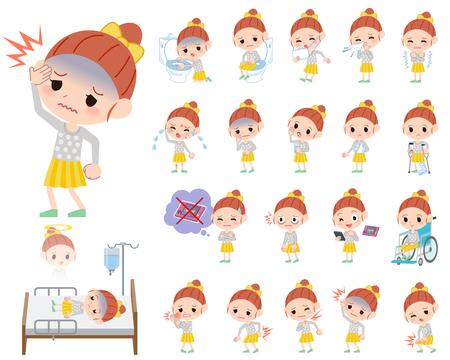 vomito: Conjunto de vaus plantea de ropa Polka dot chica cinta Acerca de la enfermedad Vectores