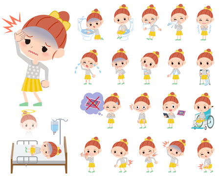 Set of various poses of Polka dot clothes ribbon girl About the sickness