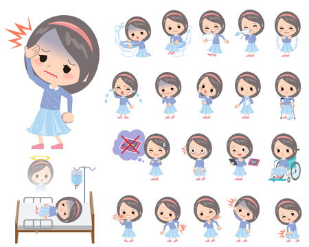 abdominal pain: Set of various poses of Blue clothes headband girl About the sickness