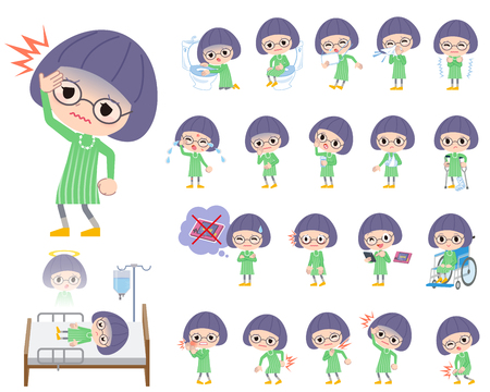 Set of various poses of Green clothes Bobbed Glasses girl About the sickness