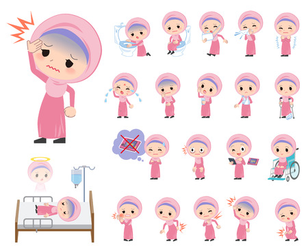 girl  care: Set of various poses of Arab girl About the sickness