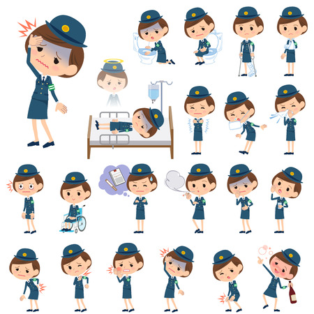 Set of various poses of Set of various poses of police Woman About the sickness