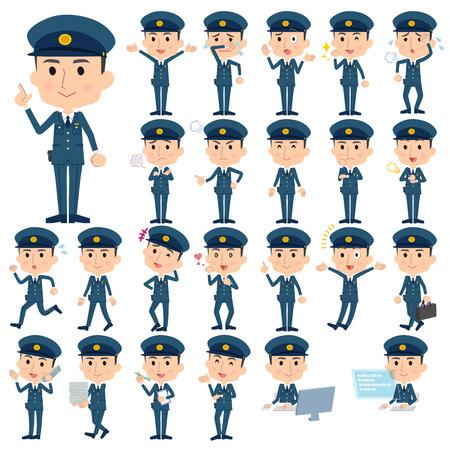 public servants: Set of various poses of police men character illustration pose set