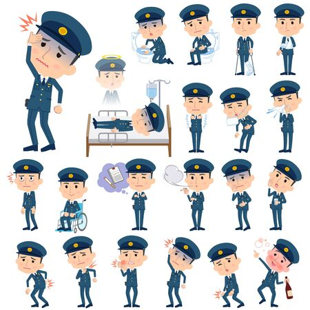 Set of various poses of police men About the sickness Illustration