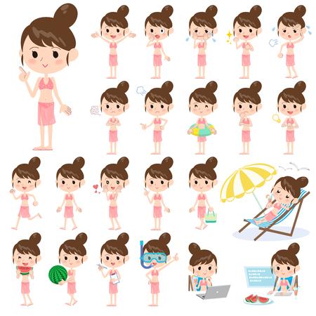 maillot de bain: Ensemble de diverses poses de maman de style Maillots de bain