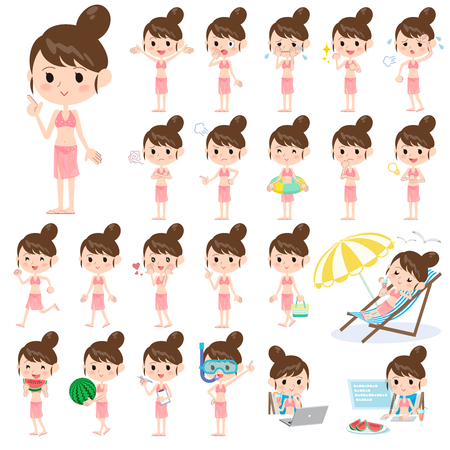 watermelon woman: Set of various poses of mom Swimwear style