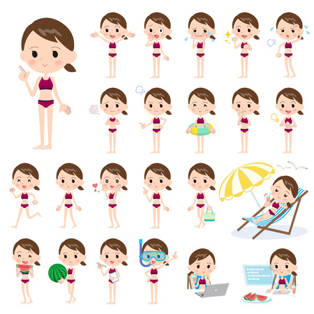 convinced: Set of various poses of school girl sport Swimwear style