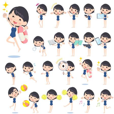 float: Set of various poses of school girl regular swimwear style