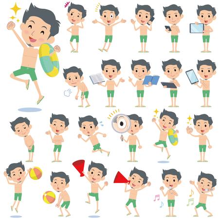 scold: Set of various poses of short hair beard man  green Swimwear style