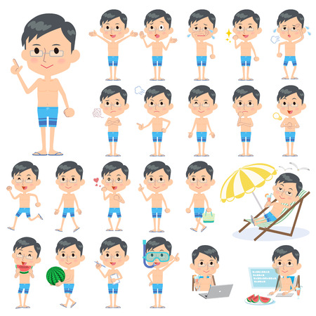 scold: Set of various poses of father blue Swimwear style