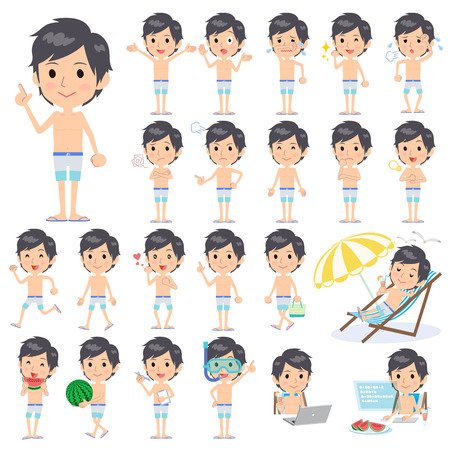 convinced: Set of various poses of man blue Three color Swimwear style