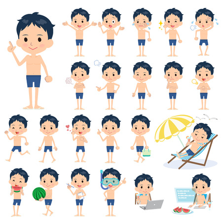 scold: Set of various poses of school boy regular Swimwear style