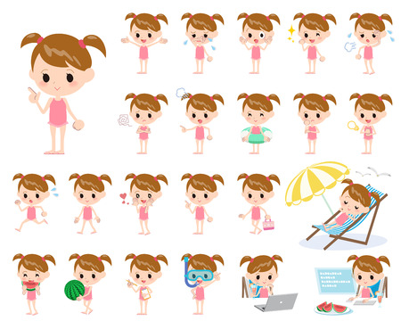 watermelon woman: Set of various poses of twintail girl pink Swimwear style
